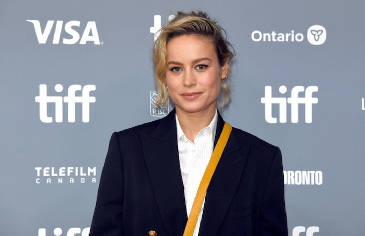"Brie Larson attends ""Just Mercy"" press conference during the 2019 TIFF."