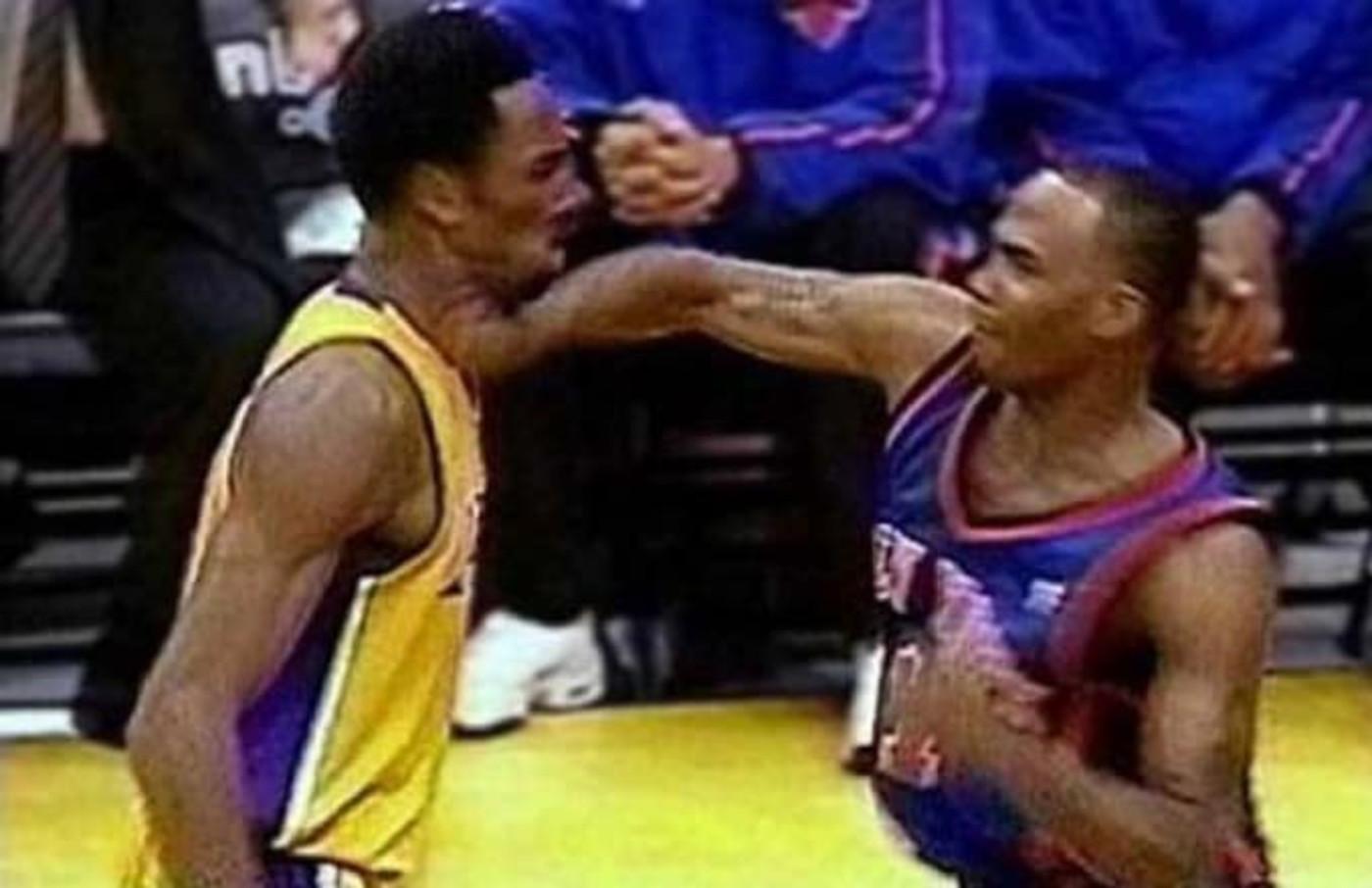 Chris Childs punches Kobe Bryant.