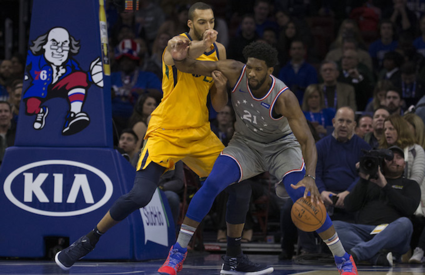 Joel Embiid Teases Rudy Gobert With Air Quotes for His 2018 DPOY Award    Complex