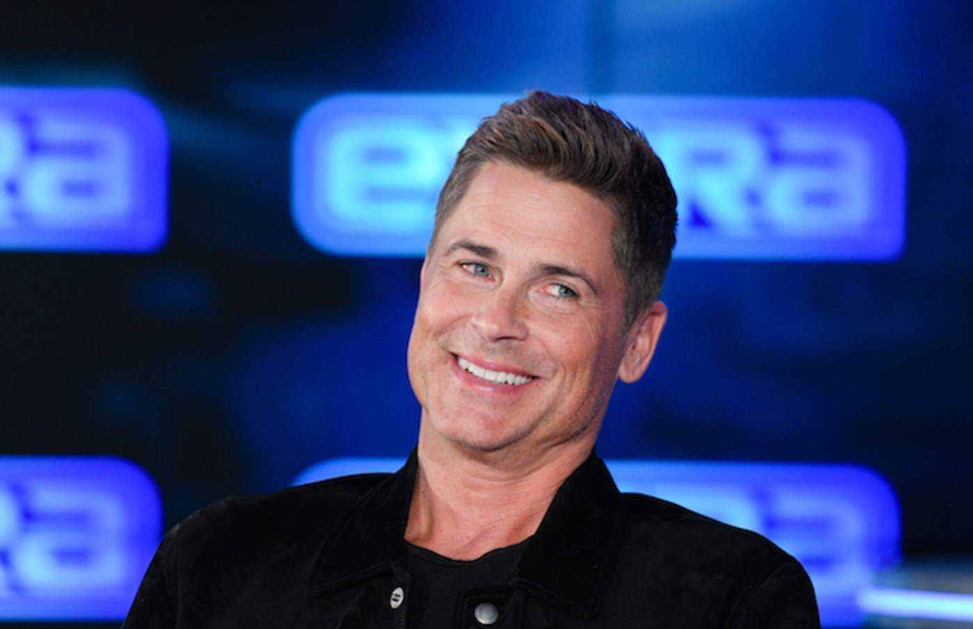 "Rob Lowe visits ""Extra."""