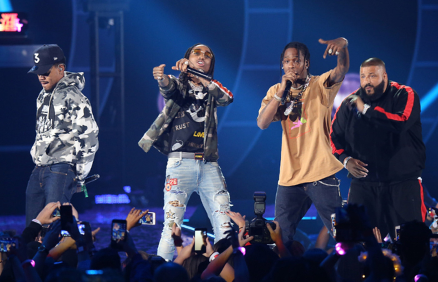 DJ Khaled, Travis Scott, Chance The Rapper and Quavo perform onstage