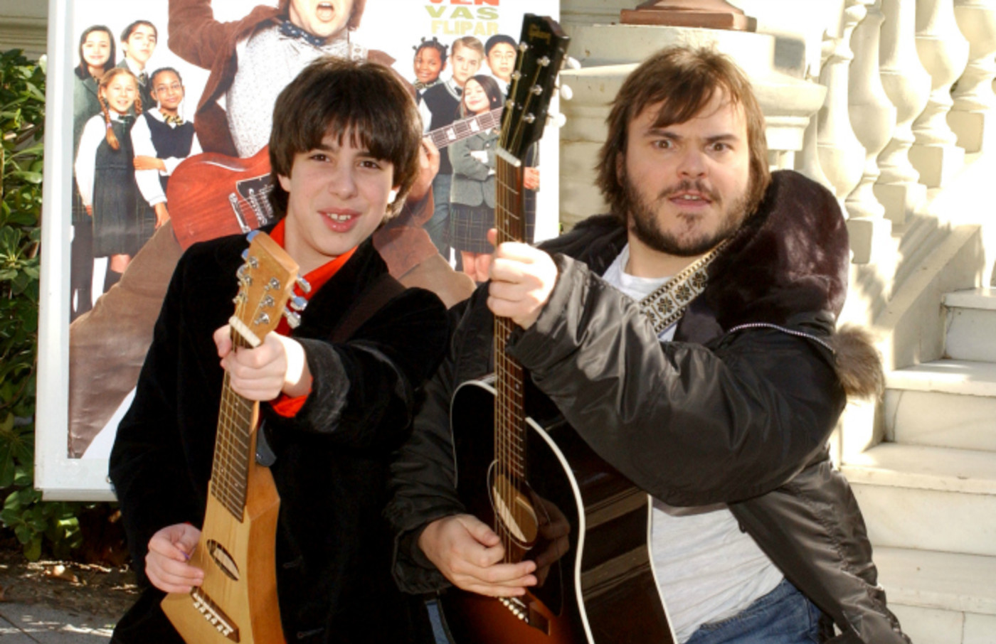 Joey Gaydos and Jack Black during 'School of Rock' Photocall