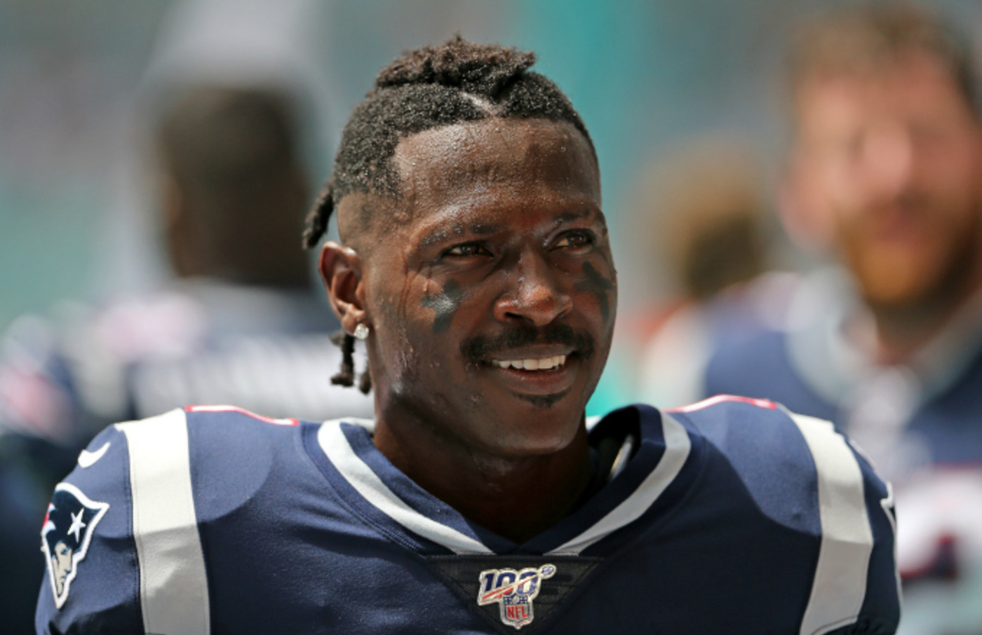 Antonio Brown smiles before the start of game against the Miami Dolphins