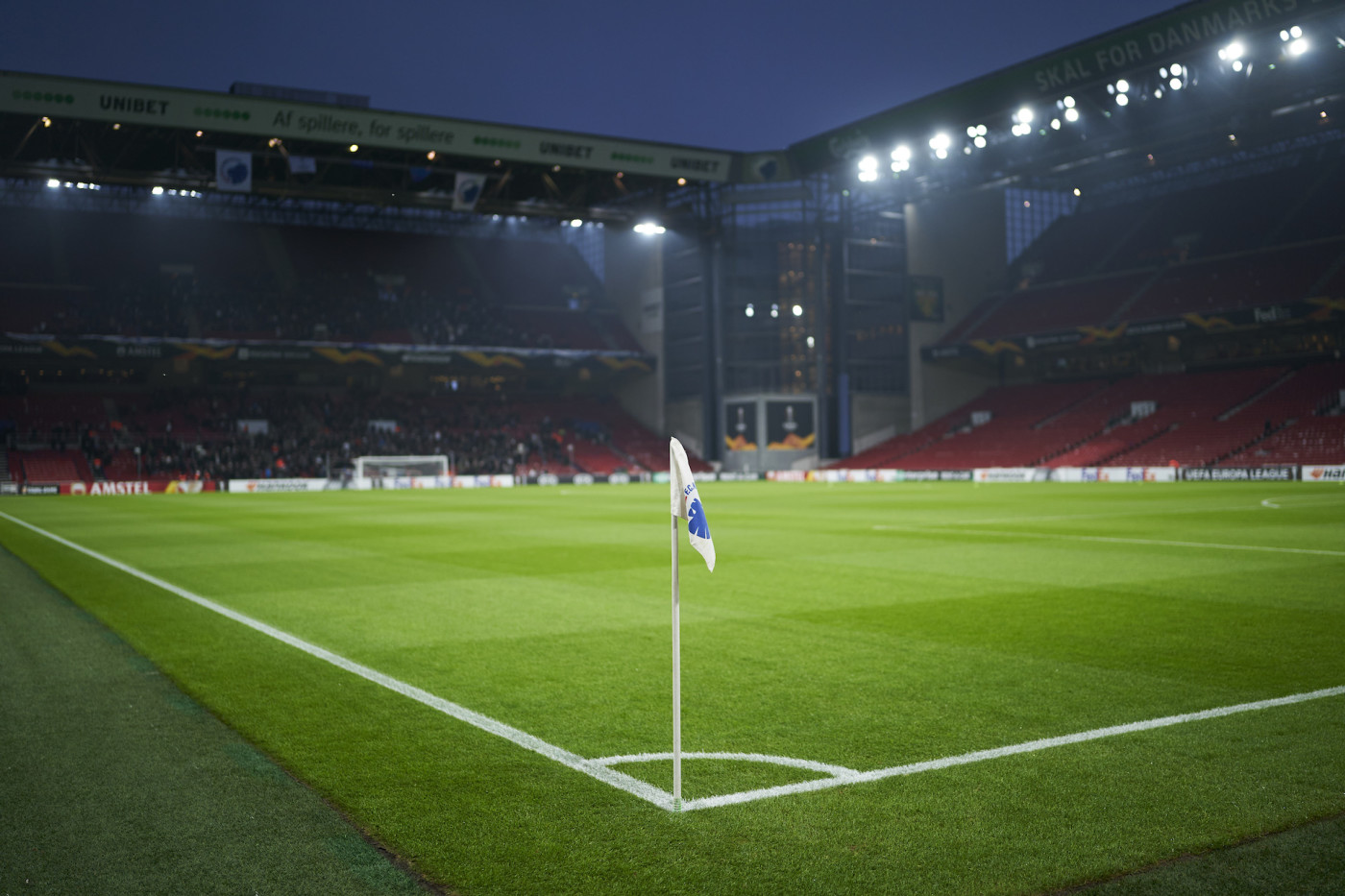 View of the new pitch and the new LED floodlights prior to the Danish 3F Superliga match.