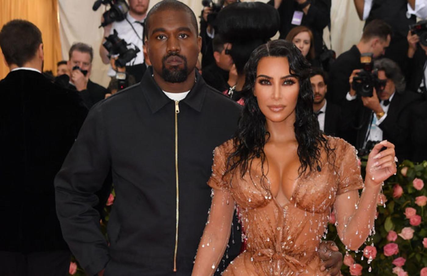 Kanye West and Kim Kardashian attend the Met Gala.