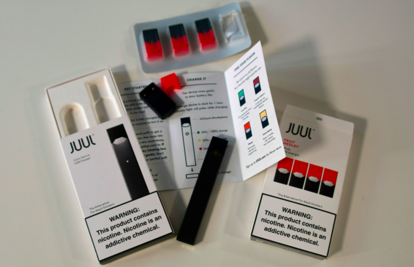 An illustration shows the contents of an electronic Juul cigarette box