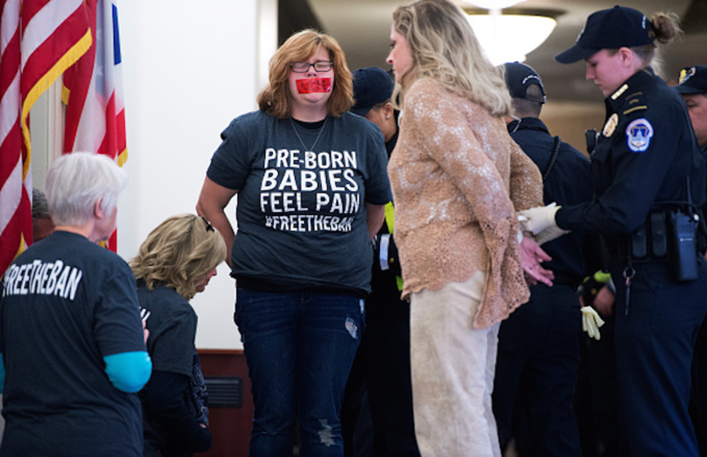 Capitol Police arrest Lauren Handy, third from left, of Anti-Choice Project DC,