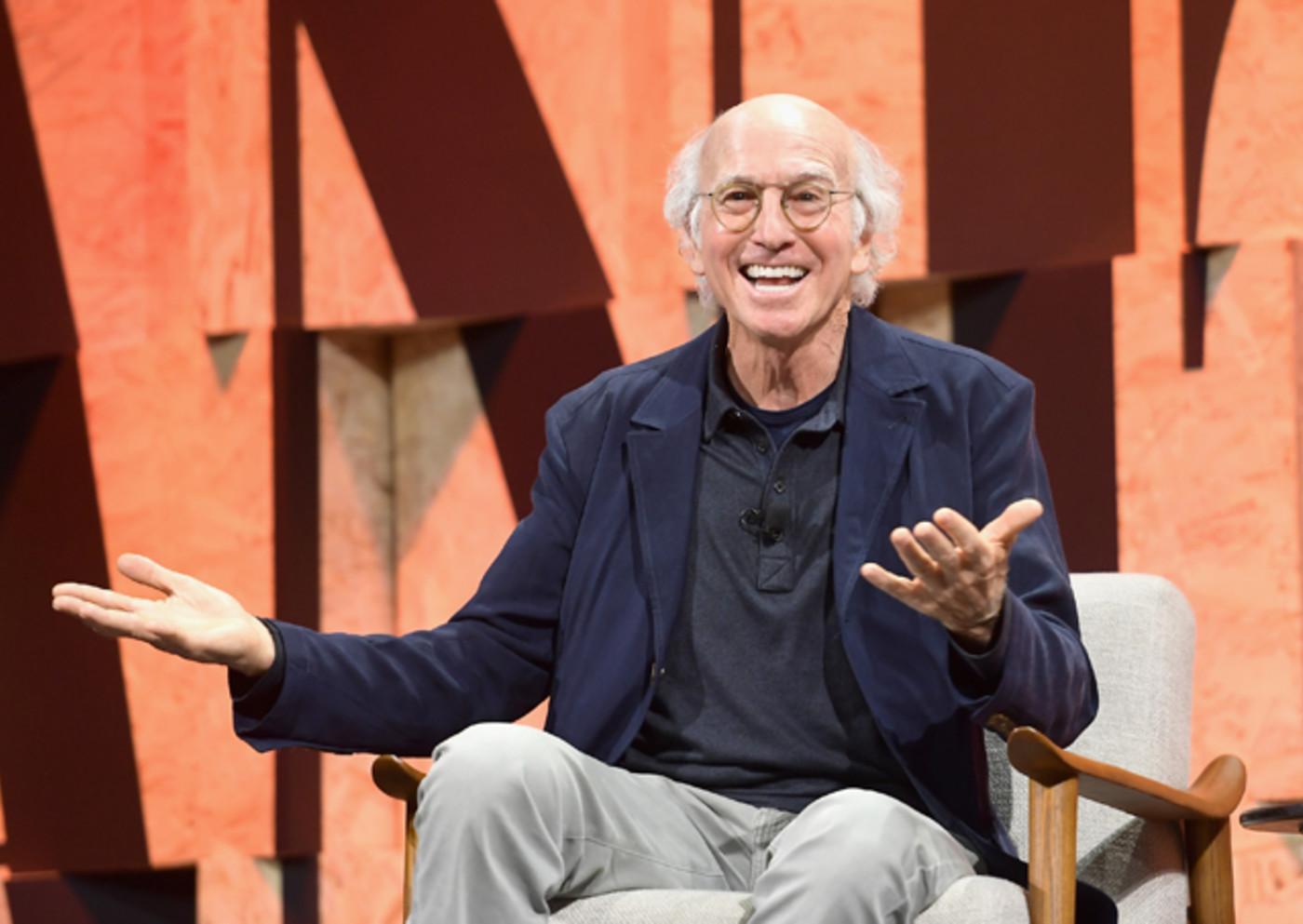 Larry David speaks onstage during Vanity Fair New Establishment Summit