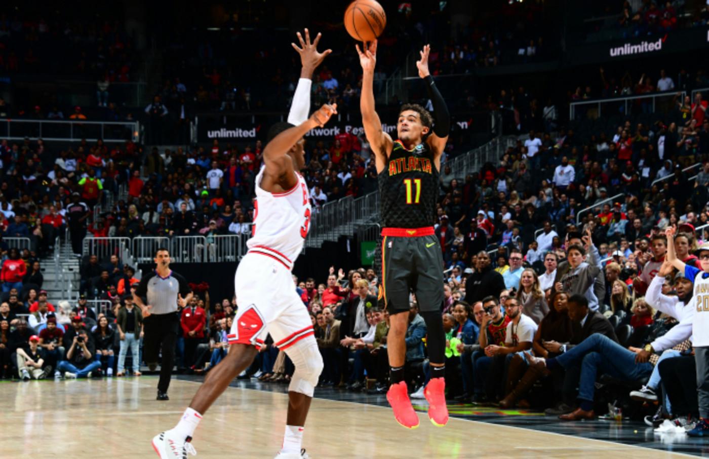 Trae Young #11 of the Atlanta Hawks shoots three point basket Chicago Bulls