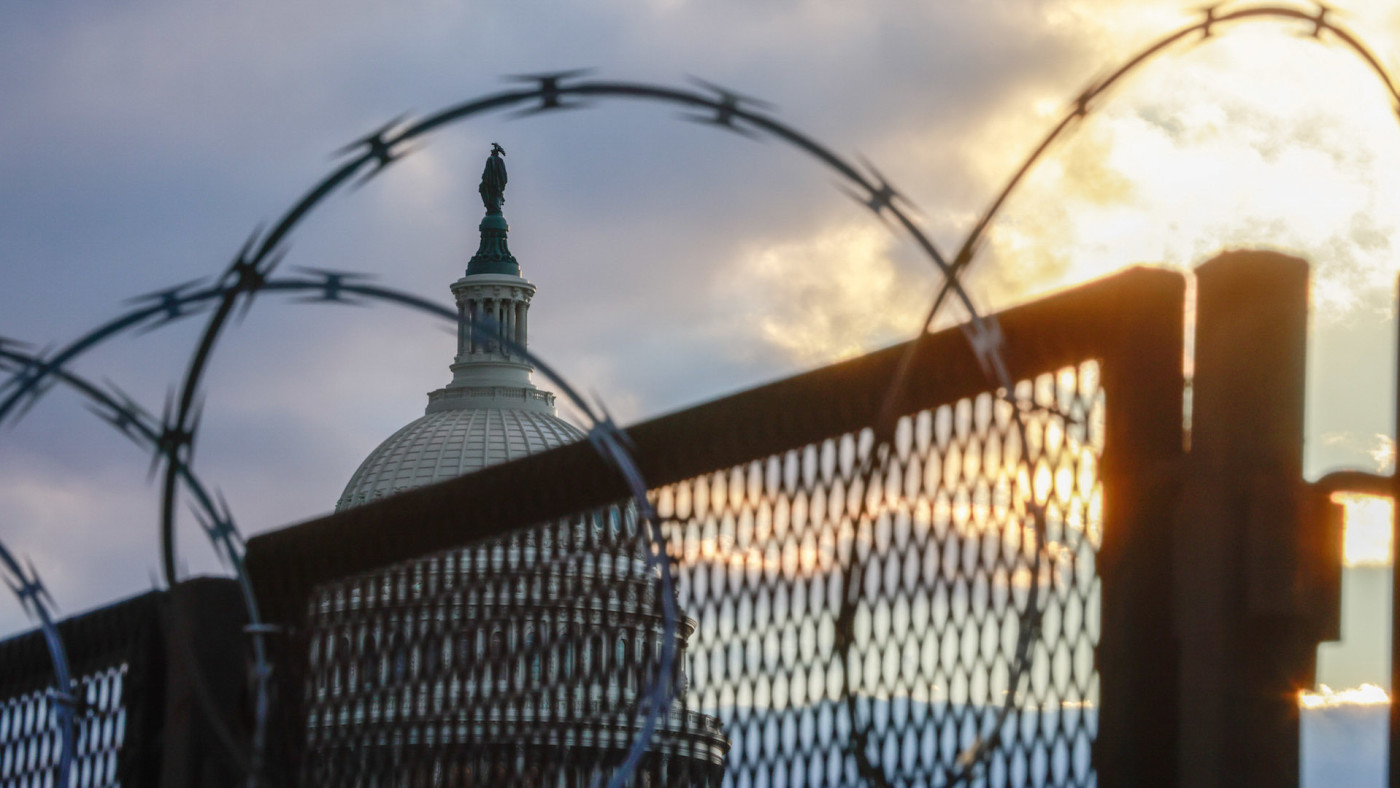 Razor wire and fences still surround the United States Capitol building