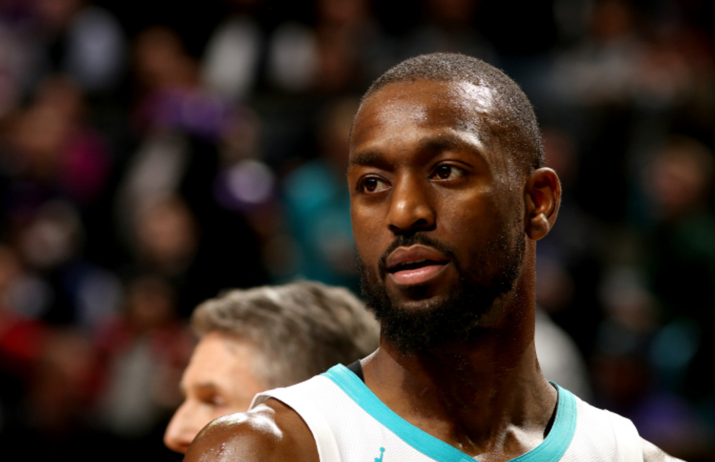 Kemba Walker #15 of the Charlotte Hornets looks on