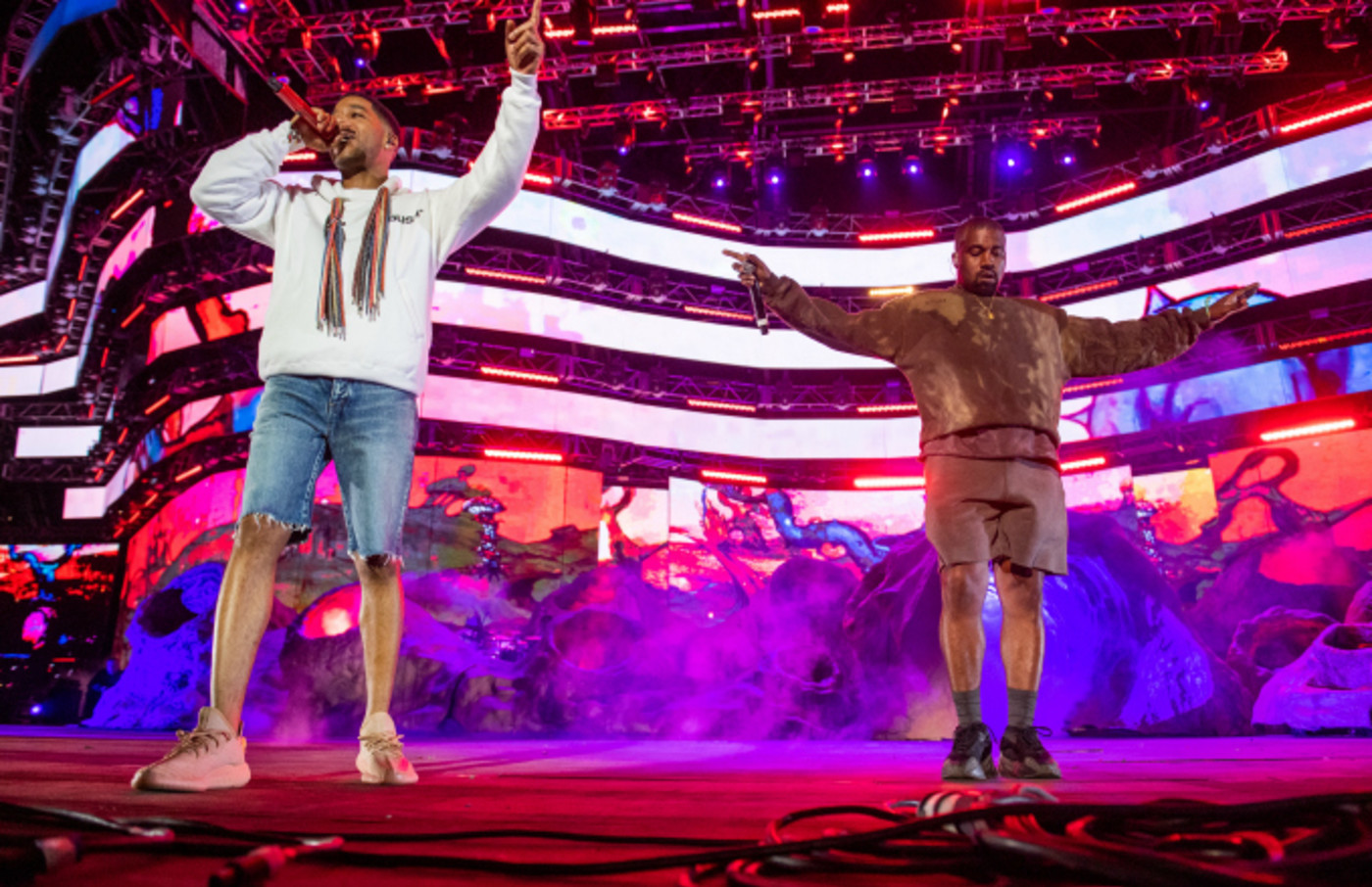 Kid Cudi and Kanye West perform during 2019 Coachella Valley Music And Arts Festival