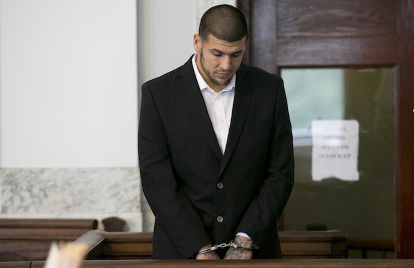 Aaron Hernandez appearing in court.