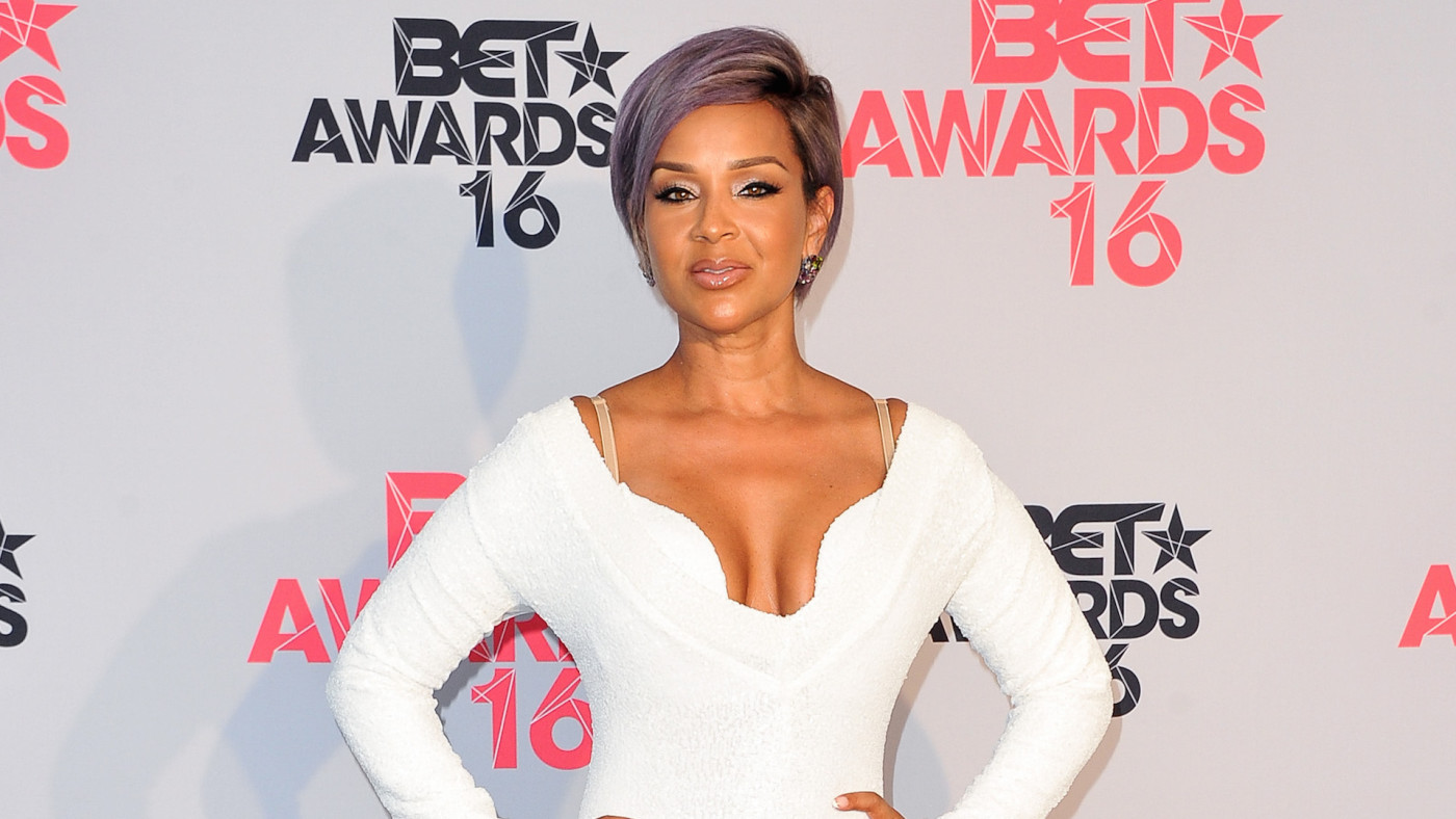 Actress LisaRaye McCoy poses for pictures in the press room