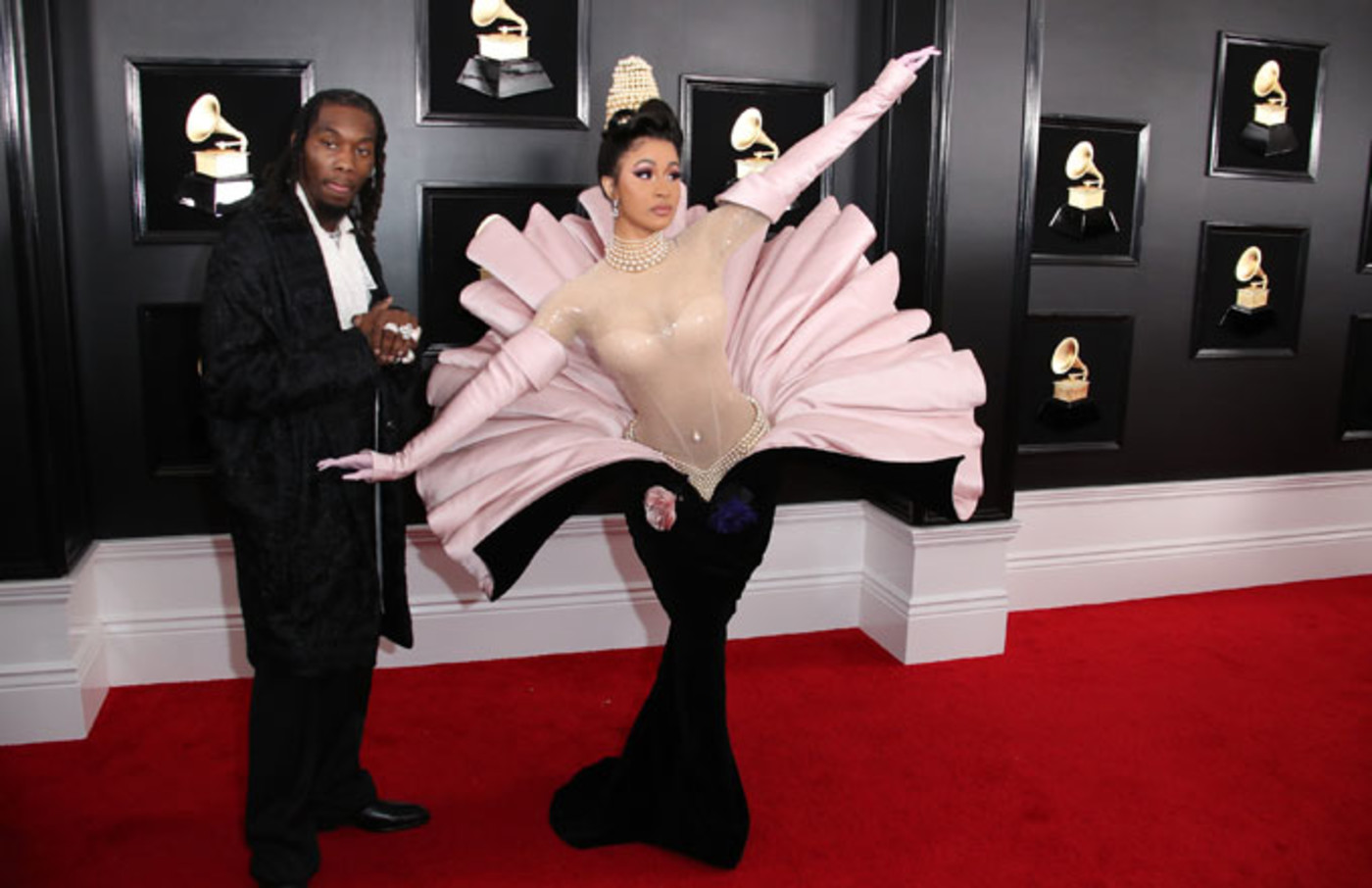 Cardi B and Offset on the red carpet for the Grammys.