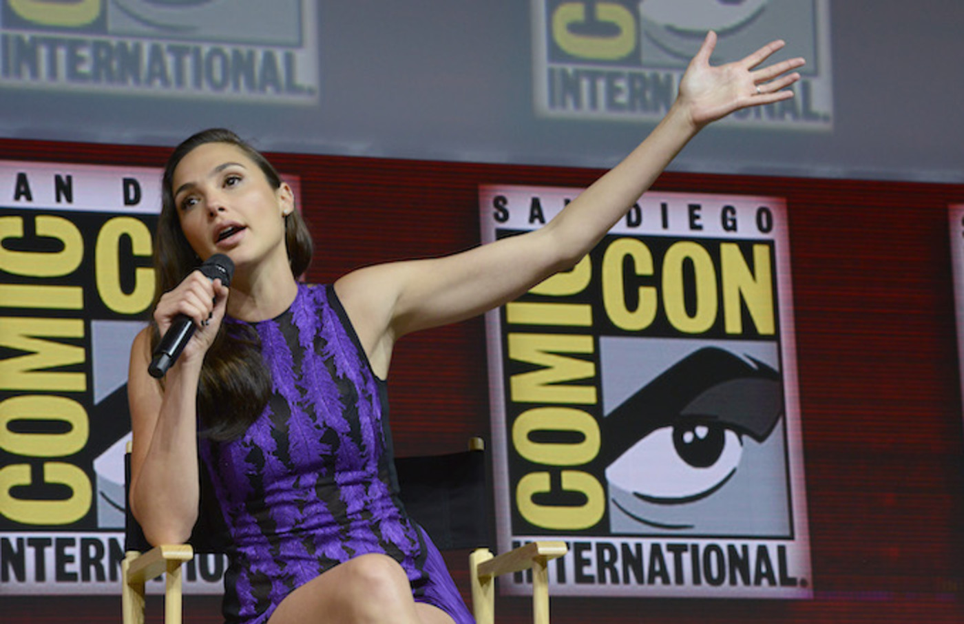 Gal Gadot speaks onstage at the Warner Bros. 'Wonder Woman 1984' theatrical panel.