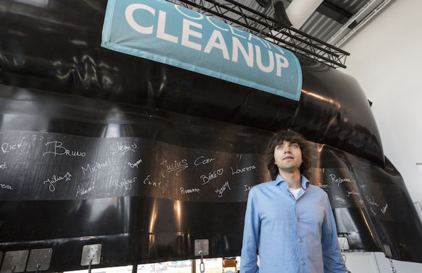 Boyan Slat poses during the unveiling of the Ocean Clean Up North Sea Prototype.