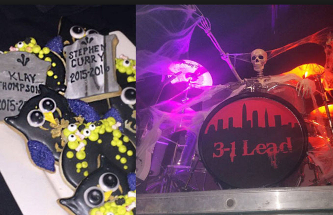 Props from the Cavaliers' Warriors themed Halloween party.