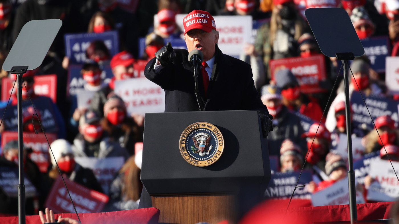 President Donald Trump speaks at a rally on November 02, 2020 in Avoca, Pennsylvania