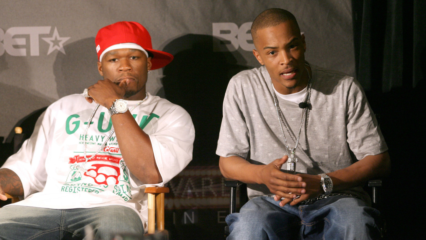 50 Cent and T.I. at BET Awards 2007 - Nominees, Host and Honorees Announcement.