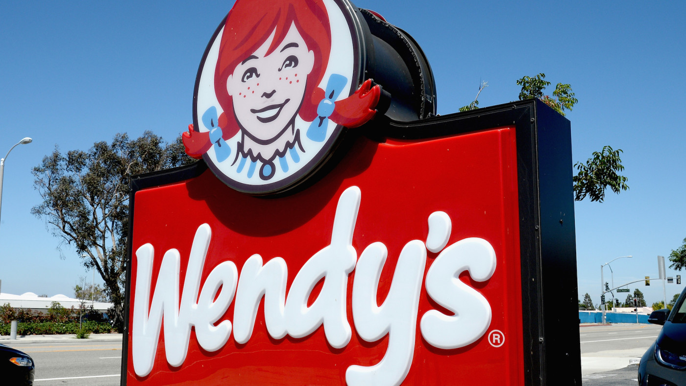 Photo of a Wendy's sign at a Los Angeles restaurant.