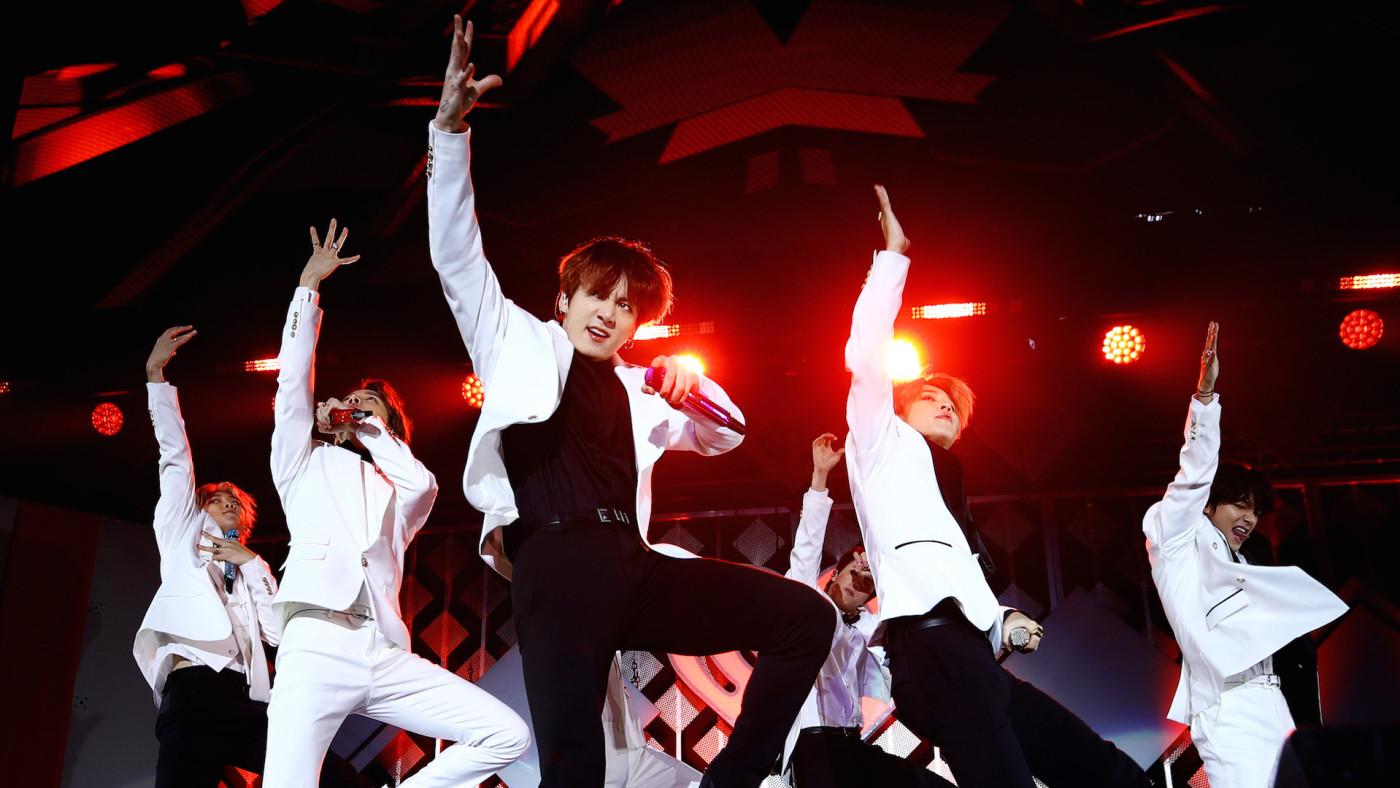 BTS performs onstage