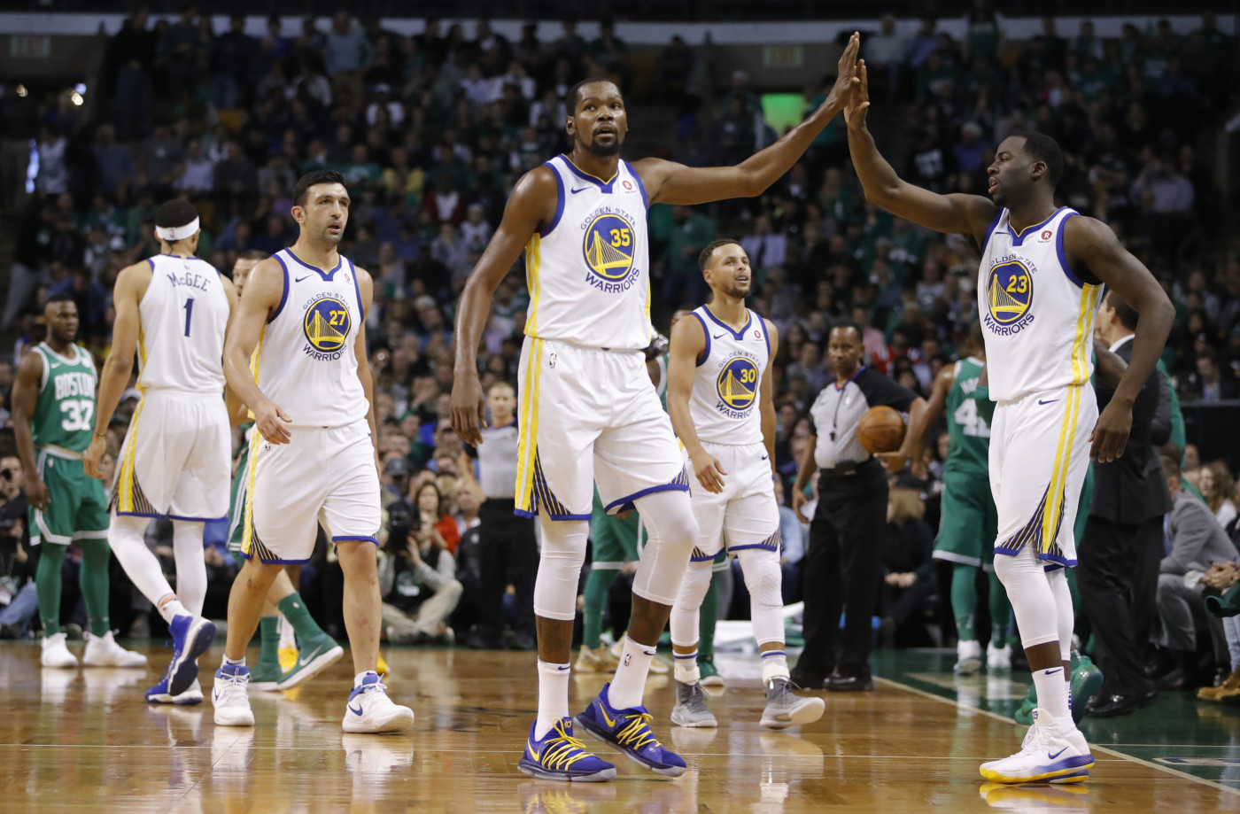 Kevin Durant Draymond Green Warriors Celtics 2017