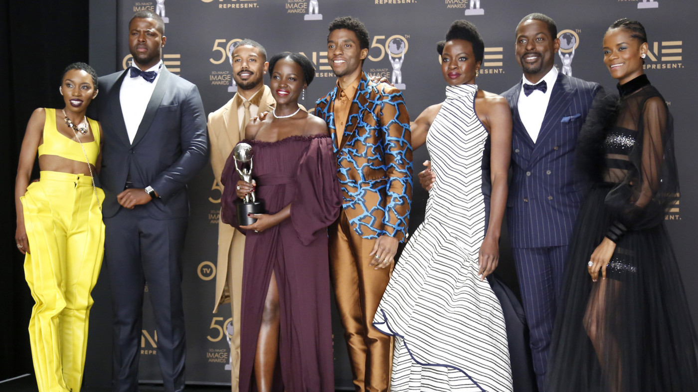 Cast in a Motion Picture for 'Black Panther', attend the 50th NAACP Image Awards