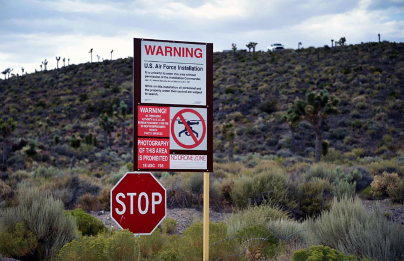 Signage displaying warnings outside of Area 51