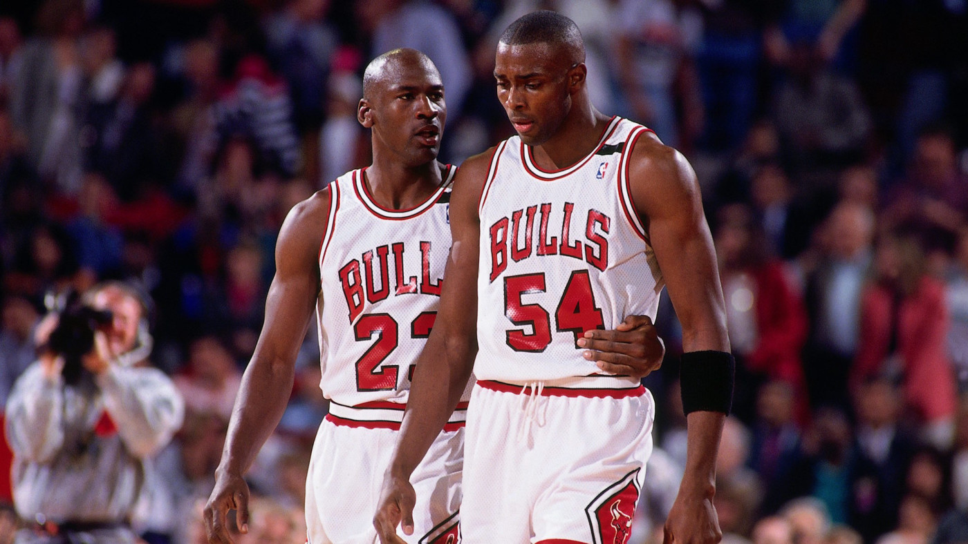 Michael Jordan comforts Horace Grant during Game 1 of the 1992 Eastern Conference Finals.