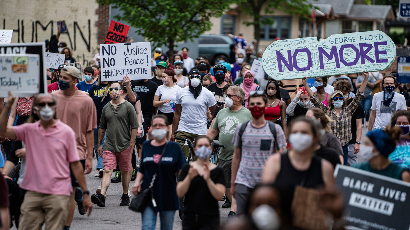 Protests in Minneapolis following the death of George Floyd.