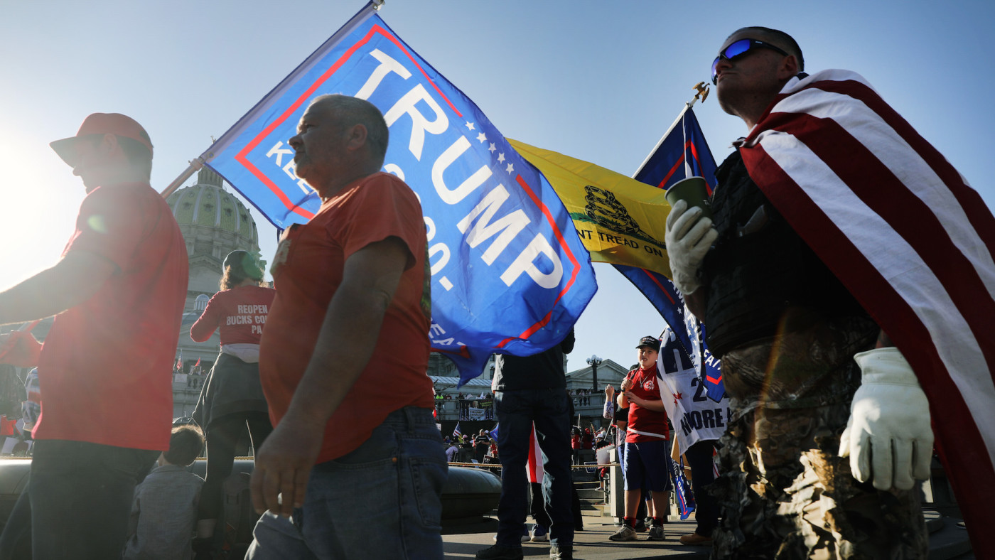 Hundreds of Donald Trump supporters gather in the state capital of Pennsylvania