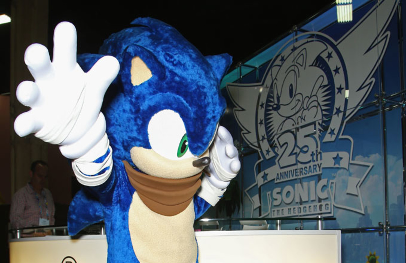 An adult in a Sonic suit.