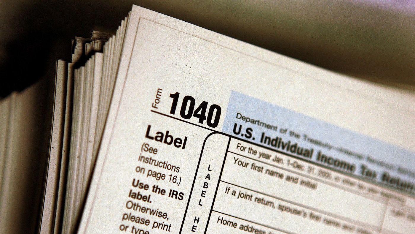 The top of a form 1040 individual income tax return for 2005.