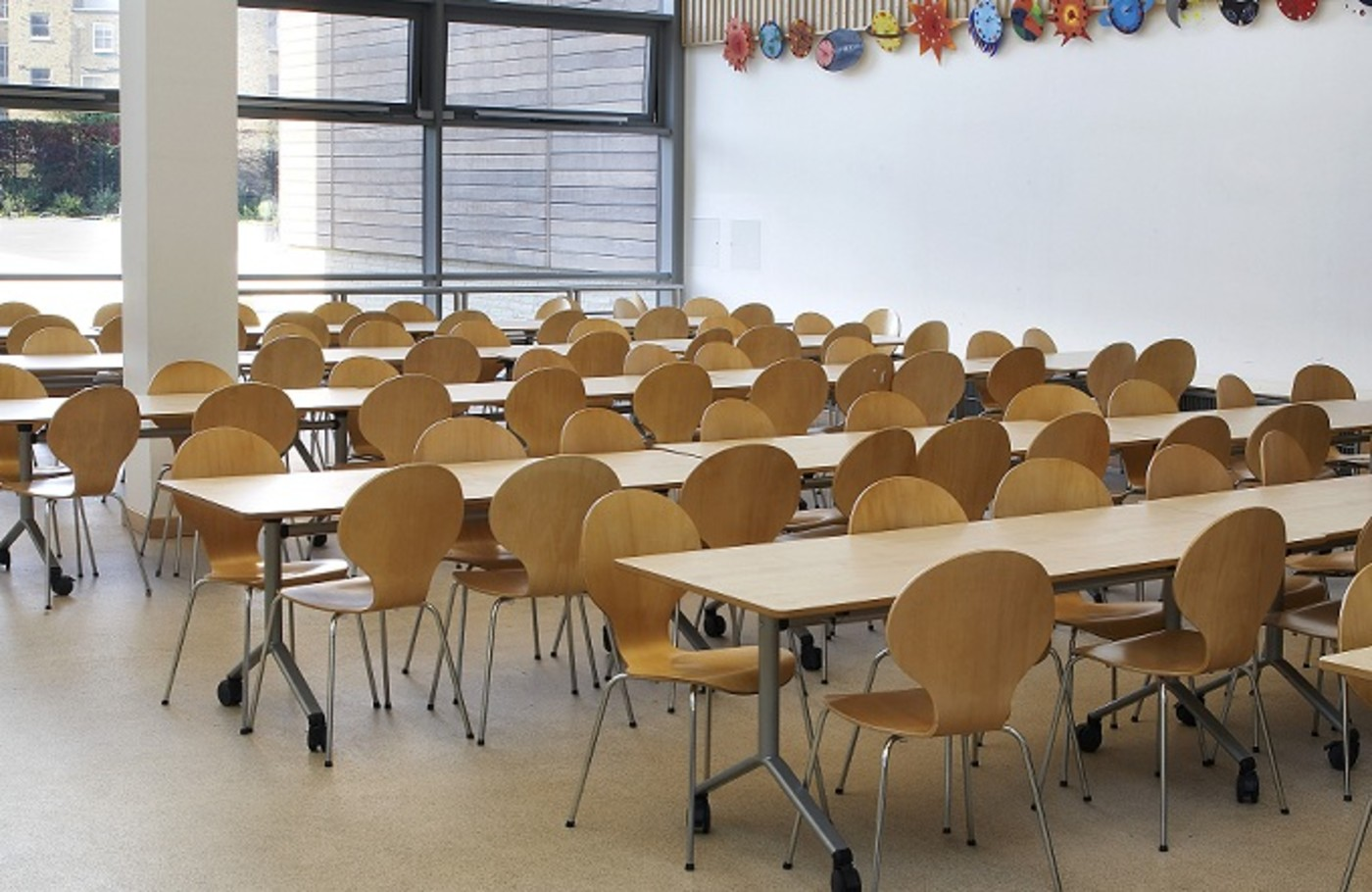 Empty school cafeteria