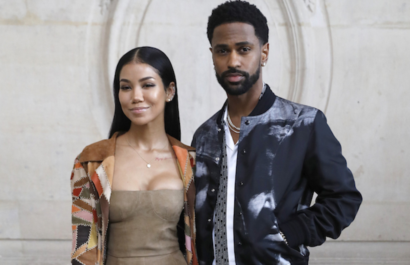 Jhene Aiko and Big Sean poses for a photocall prior to the Christian Dior's fashion show