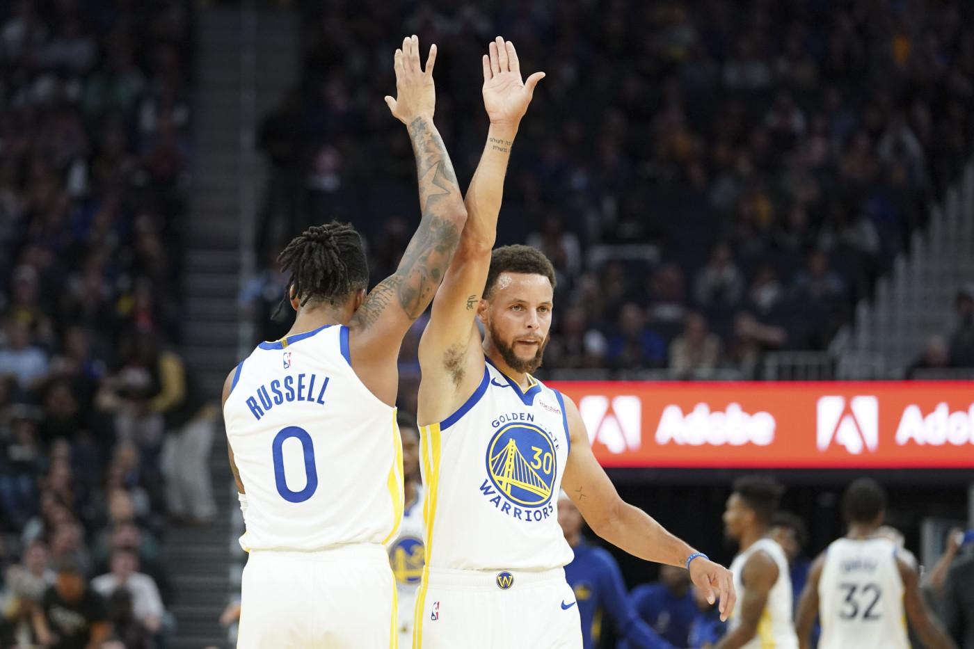 Steph Curry DAngelo Russell Warriors Preseason 2019