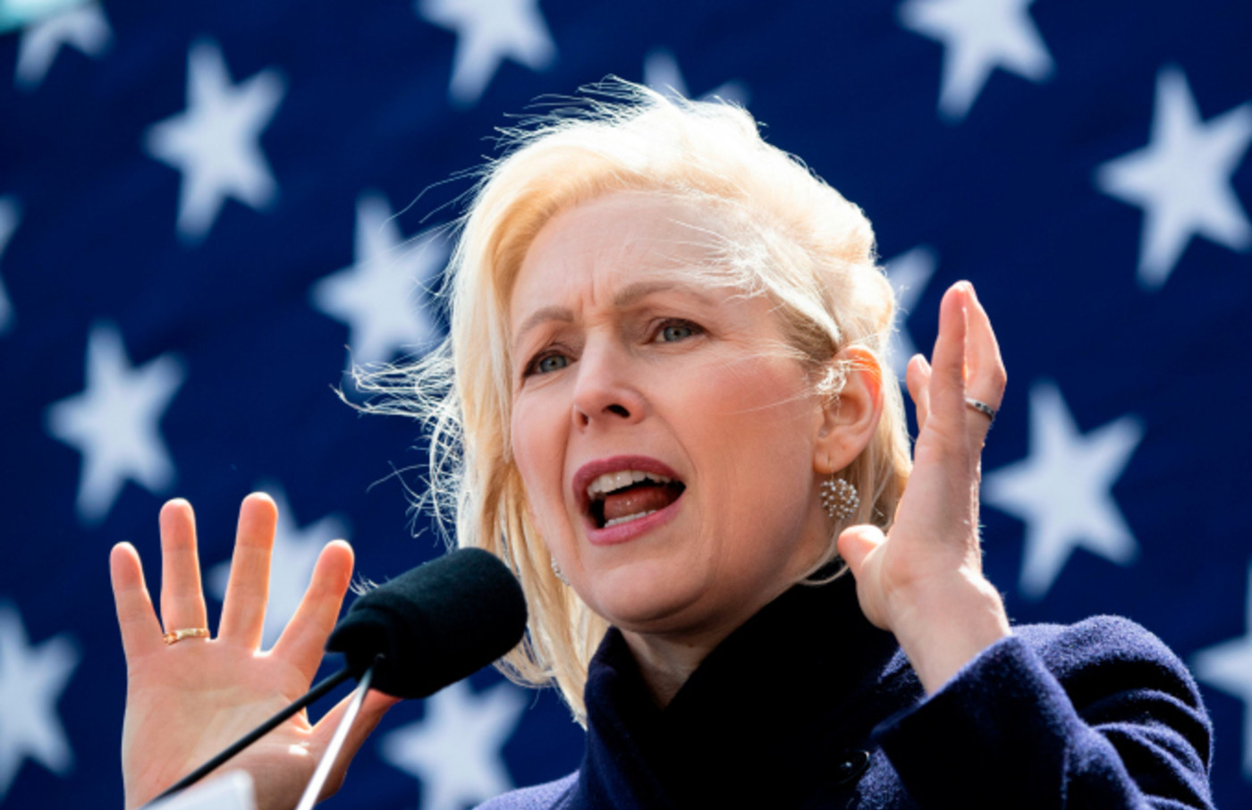 Kristen Gillibrand holds a speech during the official kick-off rally