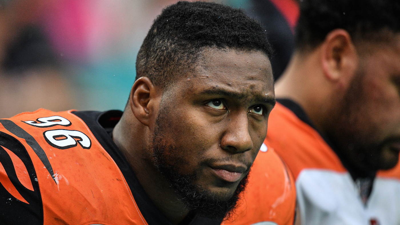Carlos Dunlap looks on during the game against the Miami Dolphins.