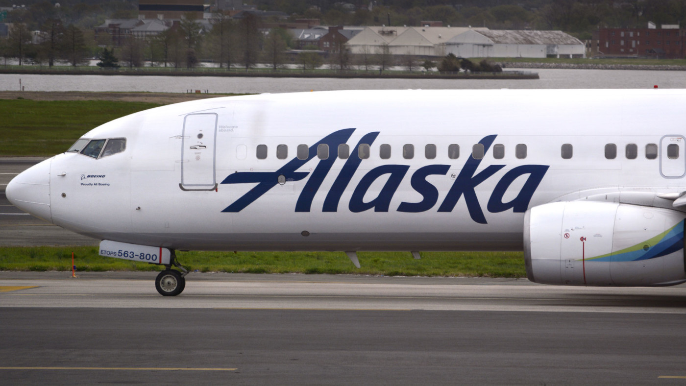 Alaska Airlines plane landing.