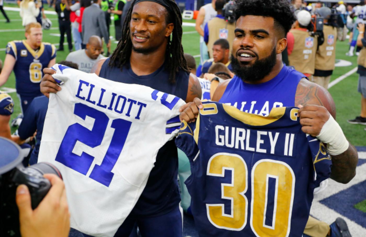 Los Angeles Rams' Todd Gurley and Dallas Cowboys' Ezekiel Elliott