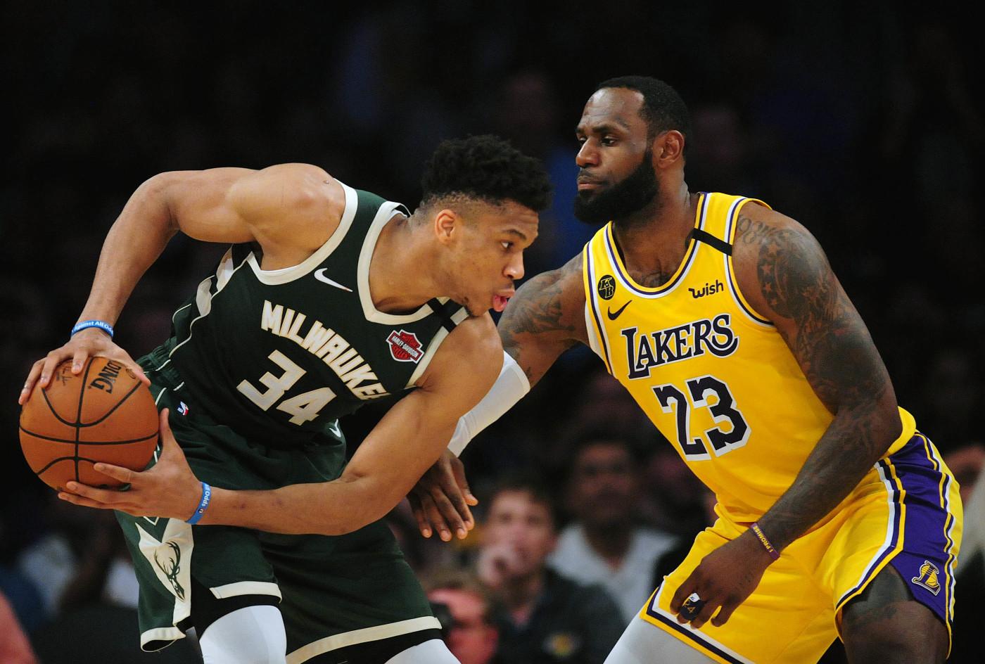 Giannis Antetokounmpo LeBron James Los Angeles Bucks Lakers 2020