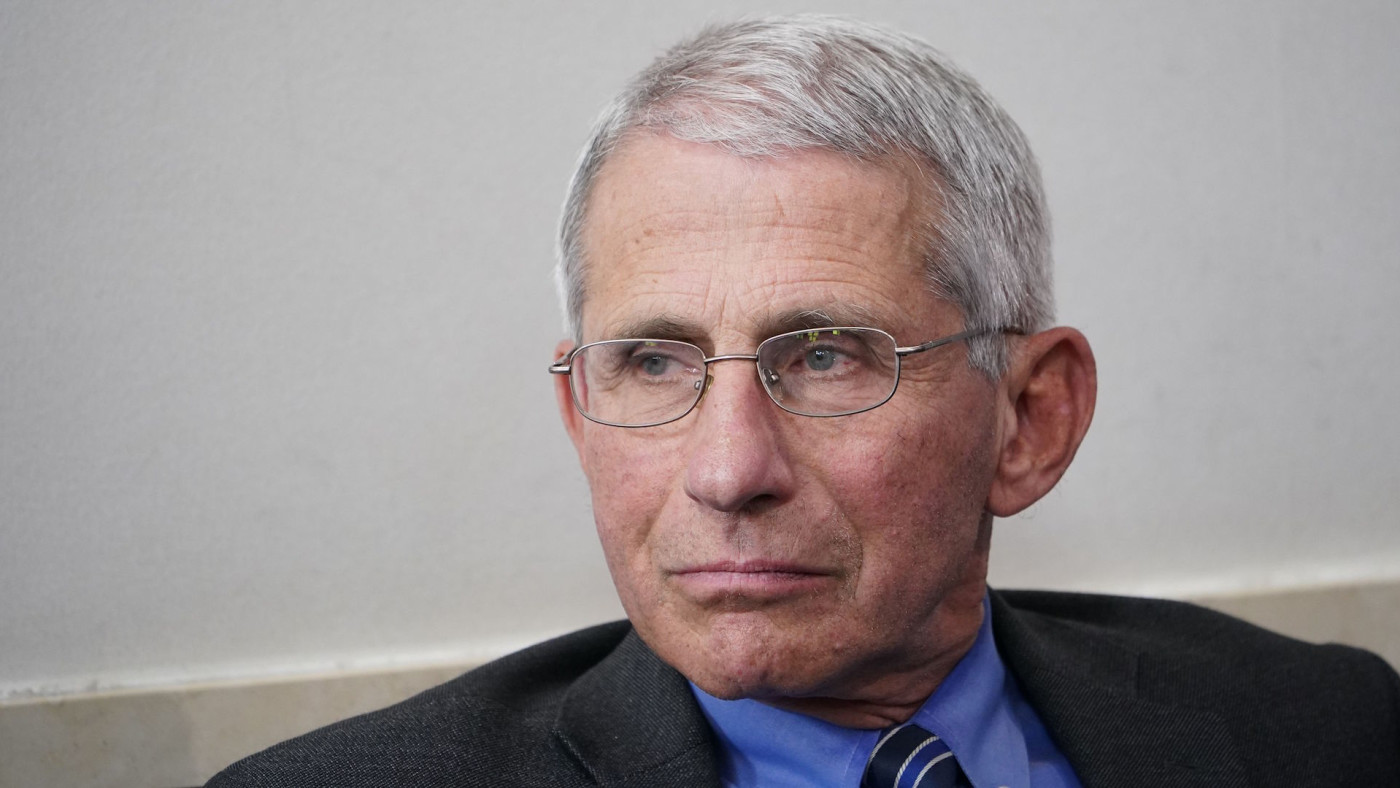 Anthony Fauci listens during the daily briefing on COVID-19 in the Brady Briefing Room.