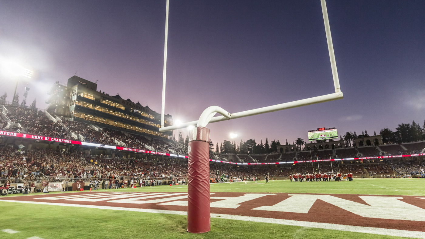 A general view of Stanford Stadium and goal