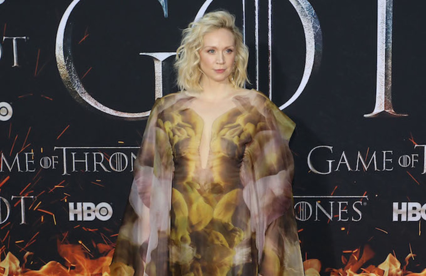 "Gwendoline Christie attends the Season 8 premiere of ""Game of Thrones."""