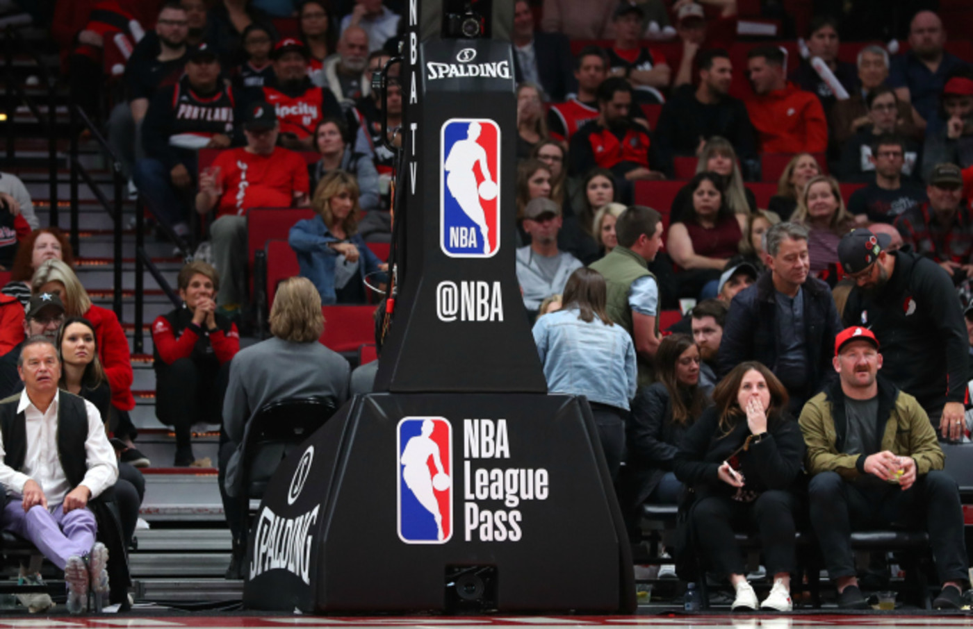 A general view of the NBA logo on the basketball hoop