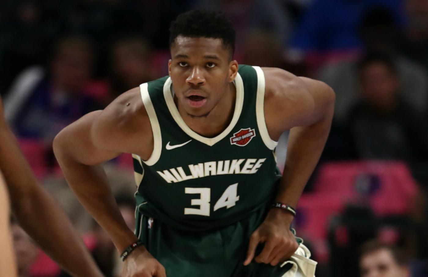Giannis Antetokounmpo #34 of the Milwaukee Bucks
