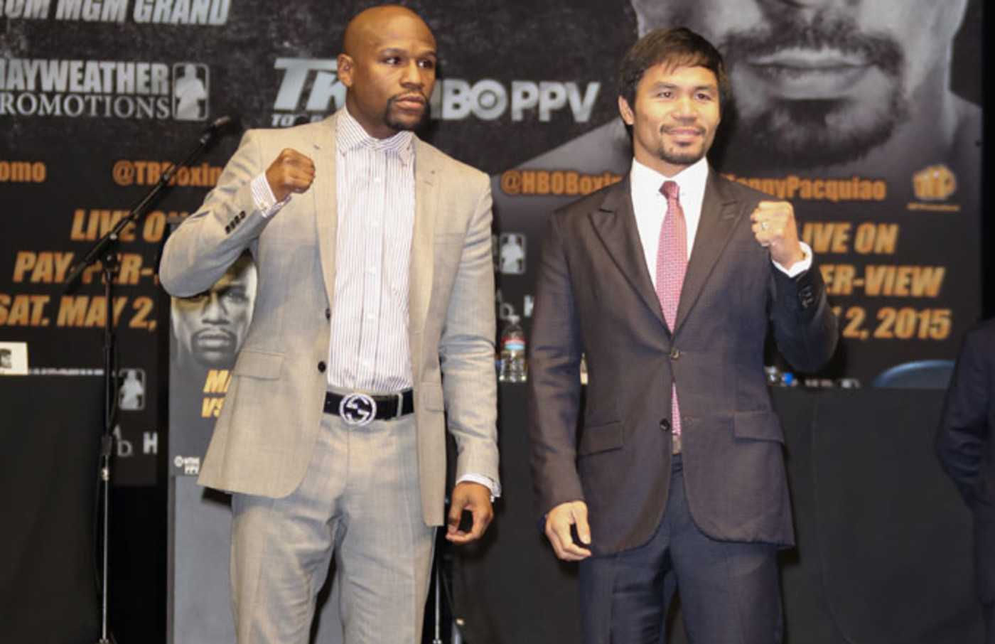 Floyd Mayweather and Manny Pacquiao at their press conference.