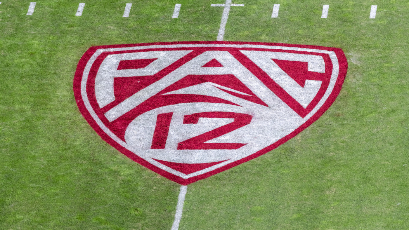 A detail view of the Pac-12 logo on the field at Stanford Stadium