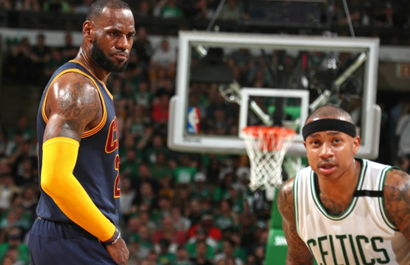 LeBron James stares down Isaiah Thomas.